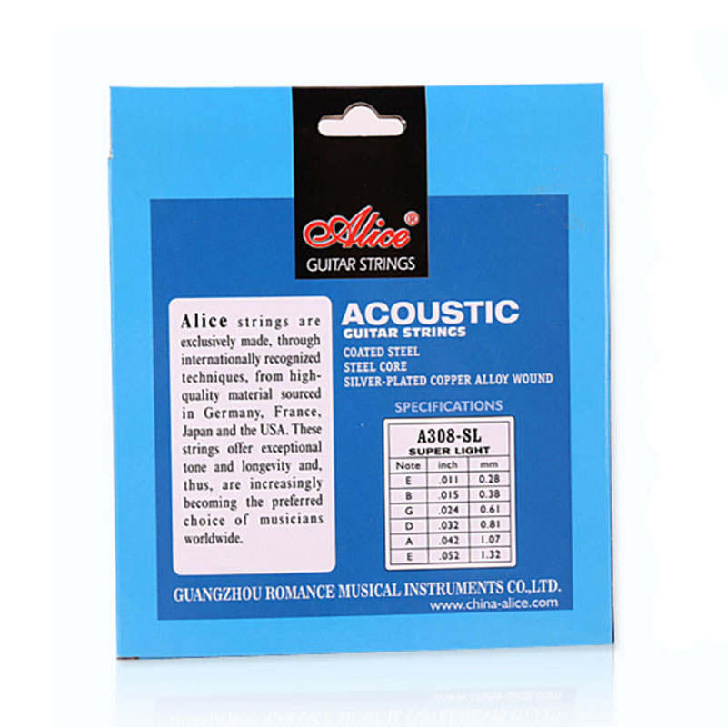 Купить с кэшбэком Wholesale 12 sets/lot Alice A308-L Acoustic Guitar Strings Super Light 6-string Set