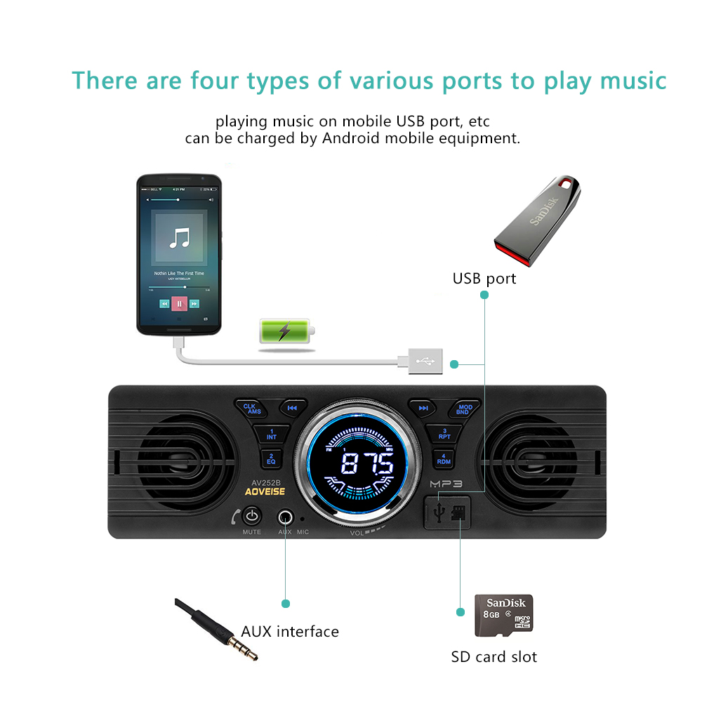 Image 3 - AMPrime Car Radio AV252B Universal 1 din In dash MP3 Audio Player Built in Speaker Stereo FM Support Bluetooth Aux USB/ TF Card-in Car Radios from Automobiles & Motorcycles