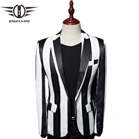 Plyesxale Black White Zebra Vertical Striped Blazer Men 2018 Brand Mens Blazers Casual Man Stage Wear Prom Blazer Masculino Q476