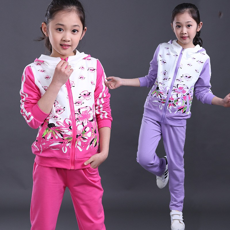 Fashion shirts and pants clothing sets girls winter spring china kids brand long sleeve flower girls tracksuit 2016
