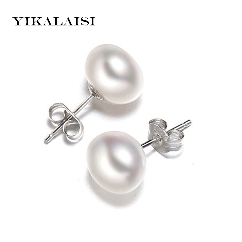 YIKALAISI 2017 new fashion Pearl Earrings Jewelry For Women Oblate Freshwater Pearl 925 sterling silver jewelry weddings gift