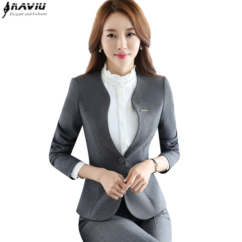 Autumn new women plus size Blazer with pants for work formal suits fashion office ladies slim