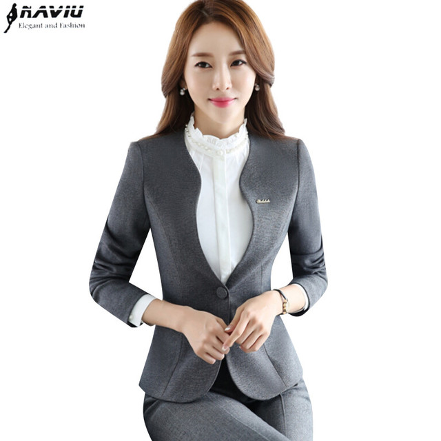 a329d639c23 Autumn new women plus size Blazer with pants for work formal suits fashion  office ladies slim long sleeve black gray pant suit