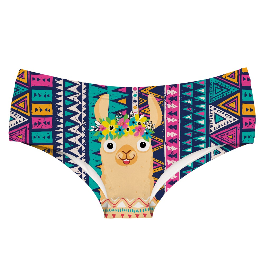 LEIMOLIS AZTEC FESTIVAL LLAMA funny print sexy hot panties female kawaii Lovely underwear push up briefs women lingerie thongs