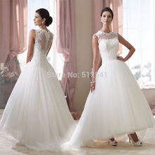 Lovely Hi-Lo Sheer Wedding Dresses A Line Strapless Applique Covered Button Organza Bridal Gown yk1A324