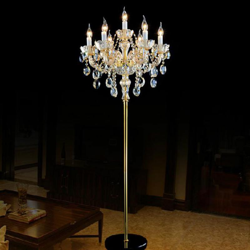 Big Champagne Led Floor Lamp Modern Wedding Glass