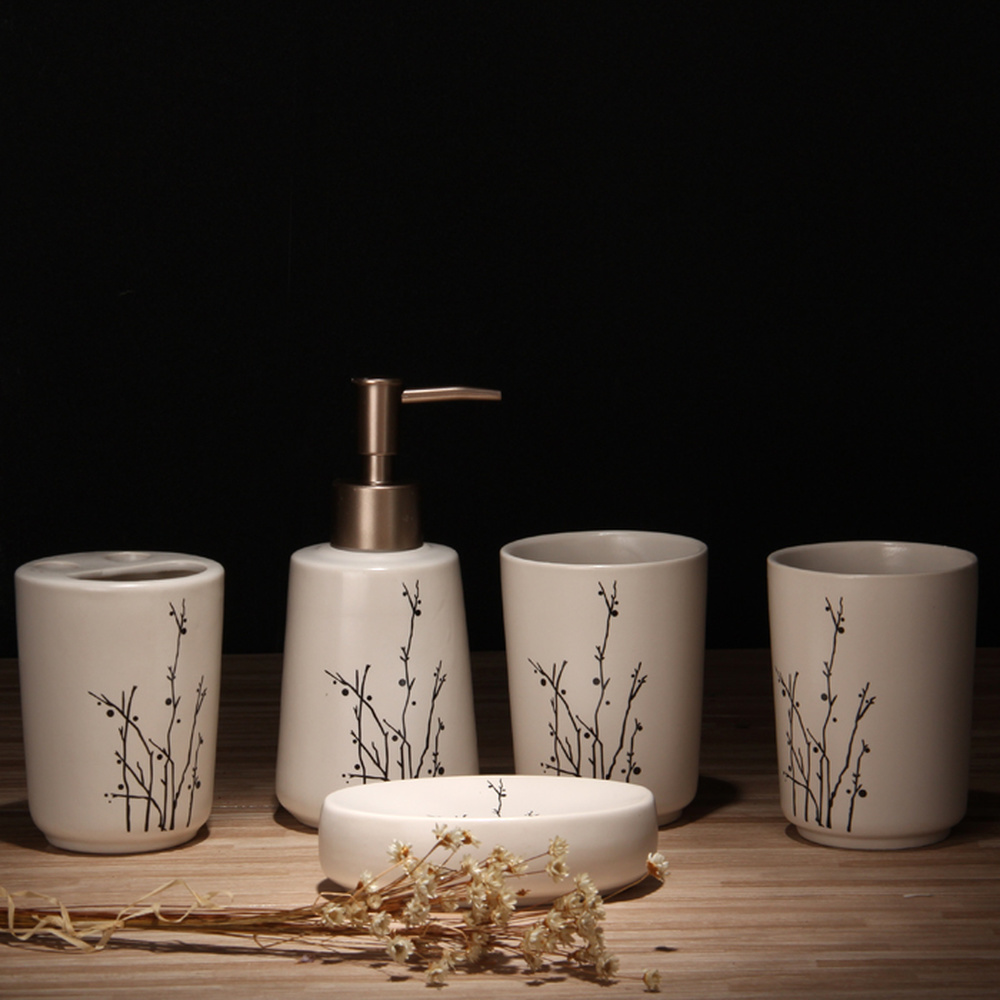 Ceramic Washing Five-piece Set Tooth Cup Sani tizer Bottle Soap Box Mouth Cup Bathroom Decoration lo861025 bath set bathroom five piece wash set brush tooth cup mouth cup tooth set ceramic toilet lo83159