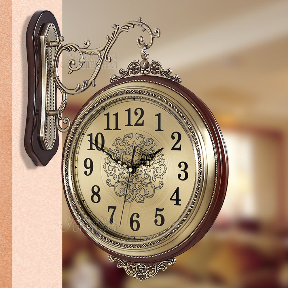 "WENHSIN 16"" European Classical 360 Wall Clock Antique Design Ultra Mute Quartz Soild Wood Alloy Double Sides Clock Non-ticking"