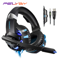 FELYBY K2 Gaming Headset Headphones for PS4 Xbox One Laptop with Noise Cancelling Micphone & LED Light