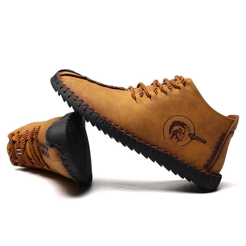 2019 גברים אופנה עור נעלי חורף חם גברים סניקרס תחרה עד החוצה דלת דירות זכר מוקסינים החלקה שחור חום נעלי ספורט