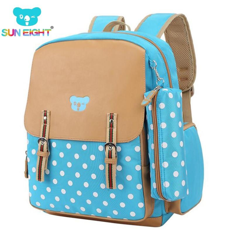 PU Orthopedic School Bag Backpacks Dot Girls Backpack Primary School Bookbag Girls School Bags