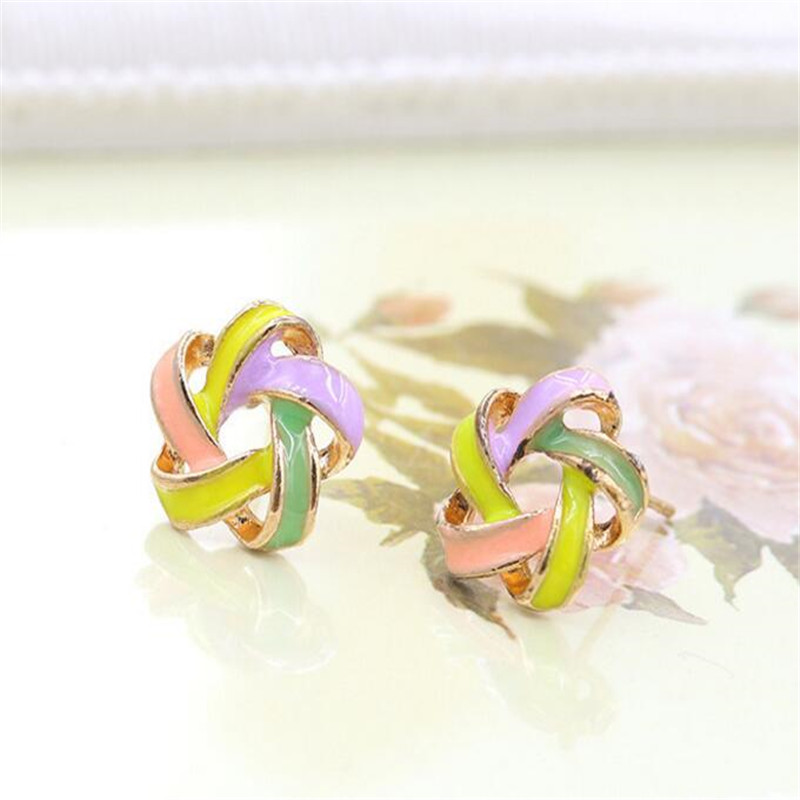 Popular Small Clear Colored Multi-colored Windmill Flower Earrings
