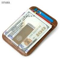 Men Money Clips Vintage Genuine Leather Front Pocket Clamp For Money Holder Removable Money Clip Wallet