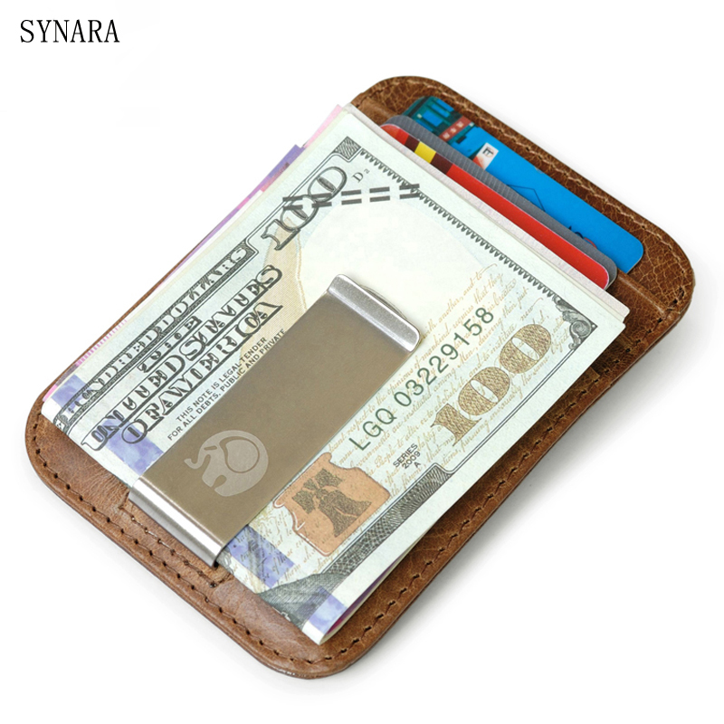 Men money clips vintage genuine leather front pocket clamp for money holder removable money clip wallet with card ID Case