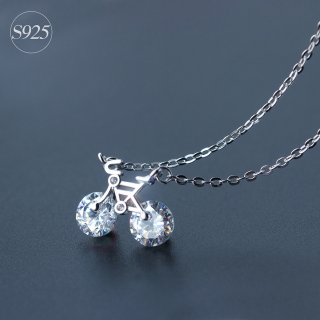 925 Sterling Silver Bicycle Necklace Pendant