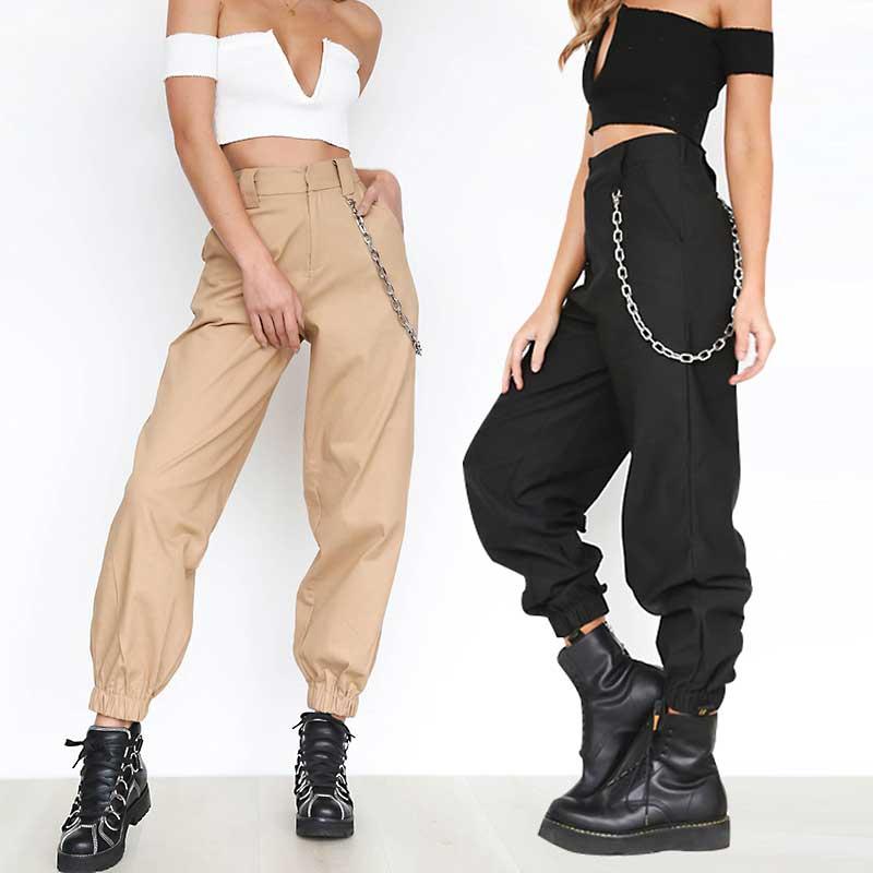 Pantalones Harem De Algodon Para Mujer Pantalones Sueltos Con Cadenas Bolsillos De Cintura Alta Largo Completo Calle Alta Calidad Caqui Negro B80992 Aliexpress