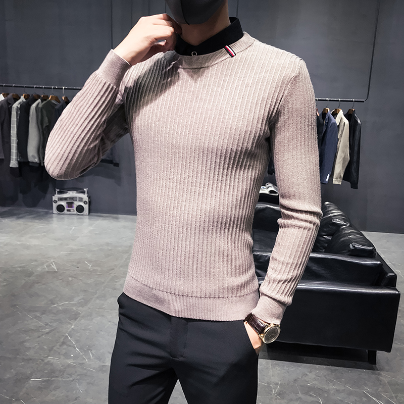 Men's Sweater Custom Shirt Striped Winter New Fake Black Bottoming Private Slim