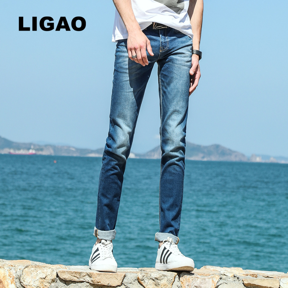 LIGAO Men's Jeans Classic Leisure Elastic Male Pencil Pants Trousers Denim Blue Jeans Men Jean Straight Slim Vaqueros серьги