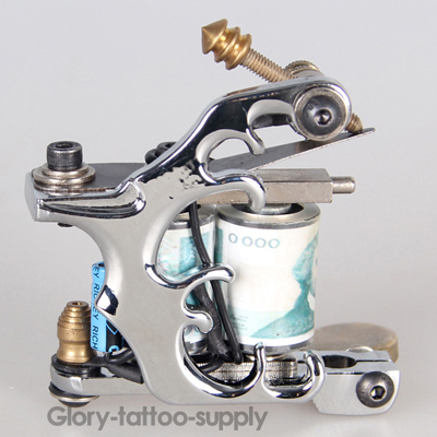 New Silver Professional Tattoo Body Art Machine Gun for Liner Shader Tattoo