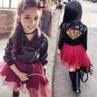 Autumn Patchwork Girls Leather Dress Party Wedding Children PU Jacket Mesh Dress Vetement Fille Kids Princess Dress TZ49