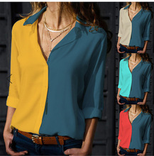 womens clothing Color matching V-neck ladies shirt, bottoming large size blouses  women blouse