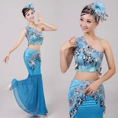 Dai dance costumes  Dai fishtail skirt  Stage performance suit  Ethnic minority dress  Peacock Dance Costume