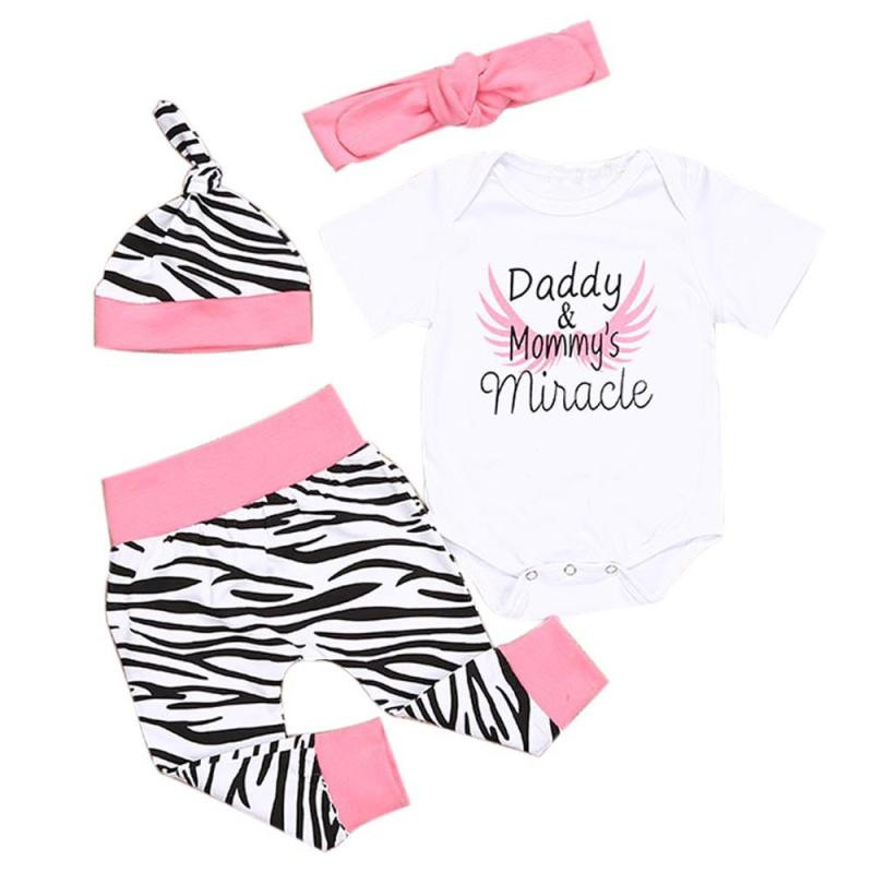 Hot Sale Sets of clothes for girls 4pcs Newborn Infant Baby Girls Romper Tops+Pants+Hat+Headband Kids Baby Girl Clothes Sets