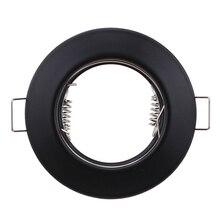 Круглый металлический черный Встраиваемый светодиодный потолочный светильник с рамкой MR16 GU10, светильник для лампы, держатель для лампы GU10, Точечный светильник для корпуса