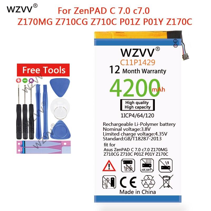 wzvv 4100mAh C11P1429 for Asus ZenPAD C 7.0 c7.0 Z170MG Z710CG Z710C P01Z P01Y Z170C Li-ion Polymer Replacement batteries