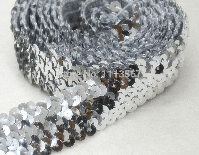 20yard Craft Silver 4 Row Sequin Elastic Trim Braided Trim Bead Trim Decorated Lace Ribbon Trim For Wedding Dress Clothes t362