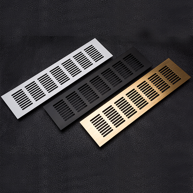 4Pcs Aluminum 80mm Rectangle Air Vent Perforated Sheet Web Plate Ventilation Grille For Closet Shoe Cupboard Decorative Cover