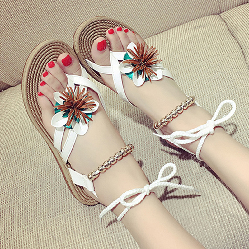 2017 New Fashion Bohemia Shoes Flip Flops Summer Woman Gladiator Sandals Women Floral Roman Strappy Platform Sandals  OR888413 toyl summer sandals women bohemia national flat with flowers shoes roman style gold gladiator sandals women shoes sweet
