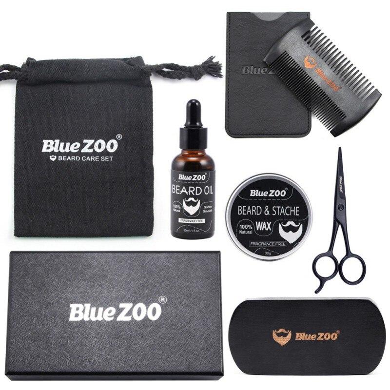 New Arrival 7 Pcs Men Moustache Cream Nutrition Beard Oil Beard Scissors Kit Box Moustache Comb Brush with Storage Bag Kits 3