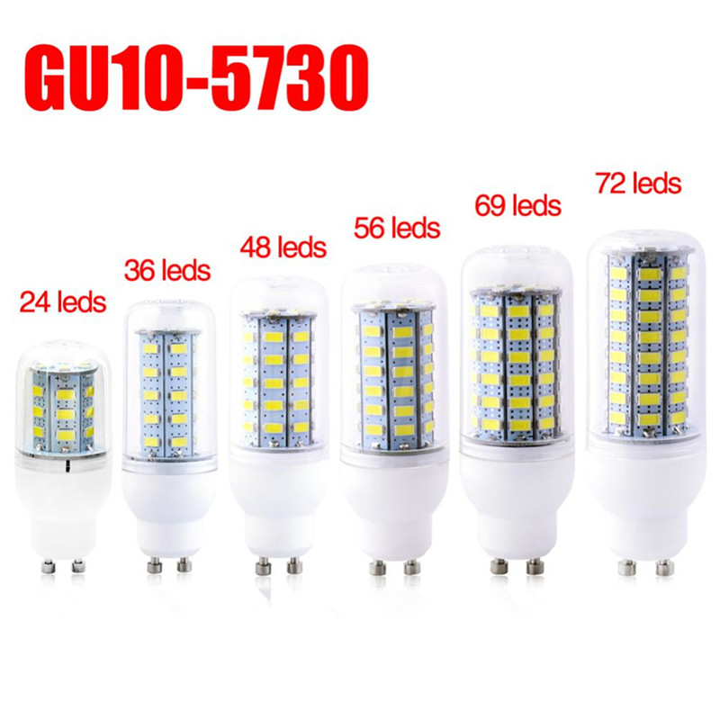 AC220V Mini LED Lamp Gu10 5730SMD Corn Light Lampada LED Bulb 24/36/48/56/69//72/89 LEDs Milky/Transparent  Chandelier Lights