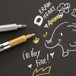 Novo criativo papelaria de metal cor ofício caneta caneta de tinta de ouro e prata 1.5mm lápis