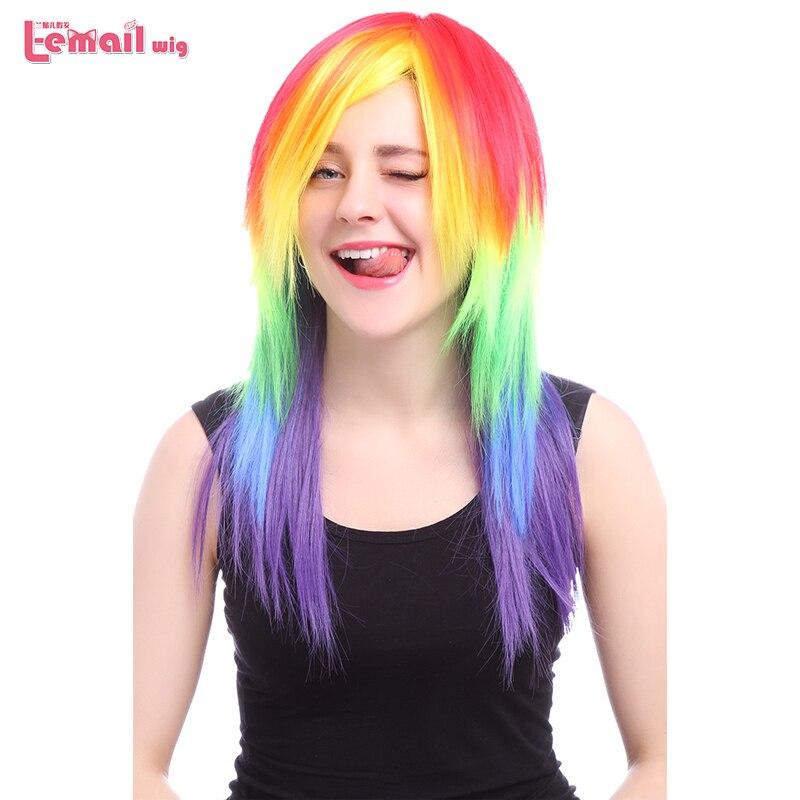Парик л-электронной Лидер продаж 53 см/20.86 cm Косплэй Искусственные парики Смешанные Цвет Little Pony термостойкие Синтетические волосы Perucas коспл... ...
