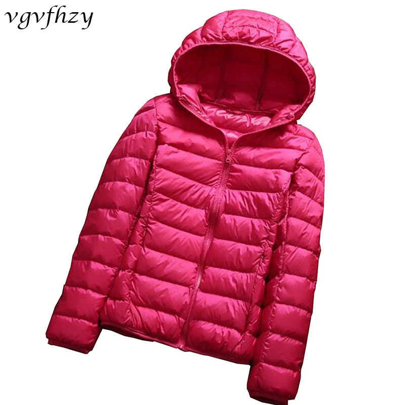 women ultra light down jacket hooded winter duck down jackets women slim long sleeve parka zipper coats 2017 LY590