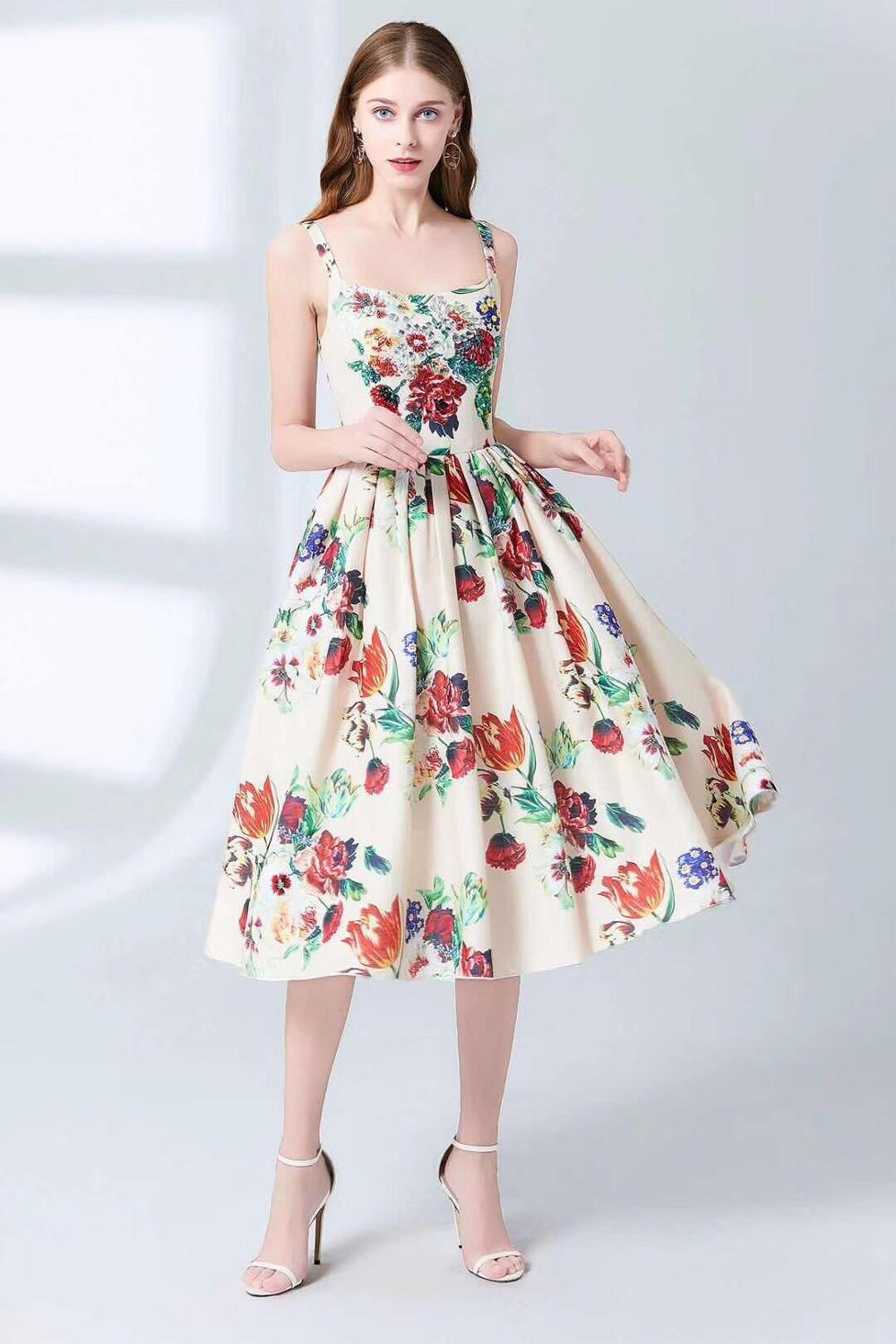 Brand High Quality 2019 Summer Women Clothes Sleeveless Sexy Spaghetti Strap Print Dress Empire Fashion Diamond Ball Gown Dress