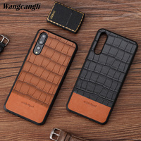 High end business real cowhide bamboo stitching all inclusive mobile phone case for hauwei p20 case leather phone full case