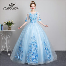 Sweet Elegant Light Blue Long Evening Dress Half Sleeve Pearls Applique Ball Gown Solo Show Masquerade Dress Vestido De Festa 30(China)