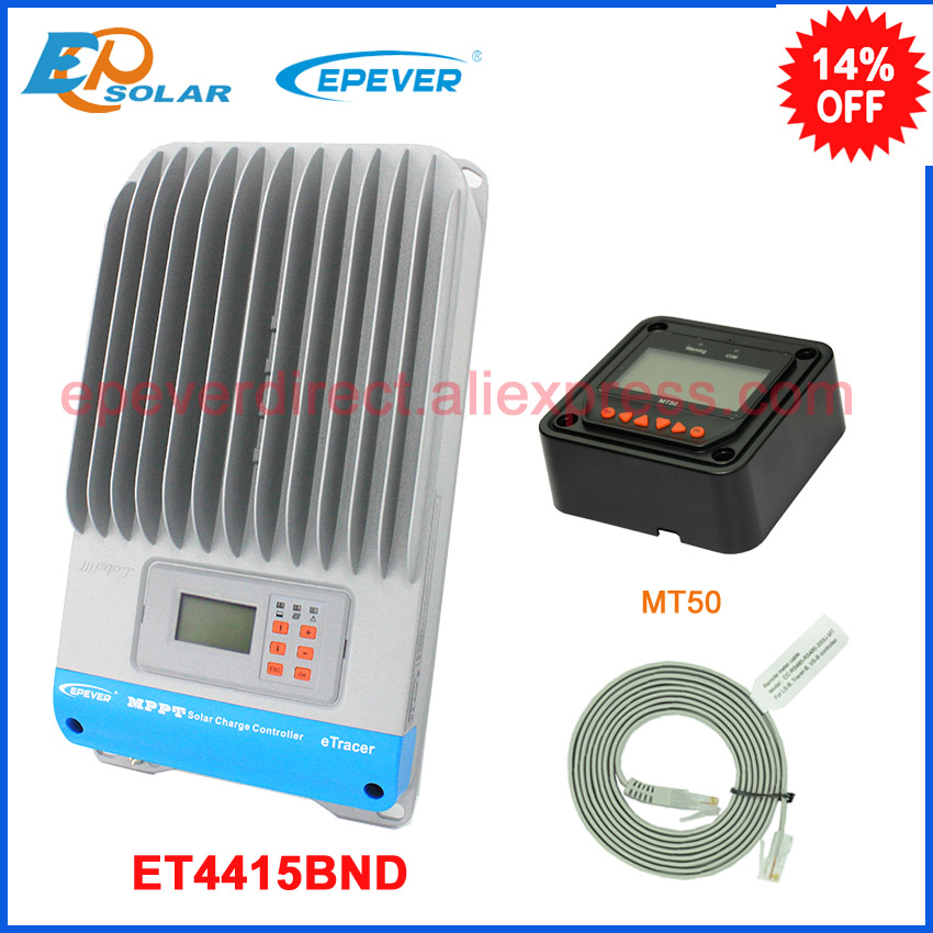 ET4415BND 45A 45amp mppt charger solar controller with black MT50 remote meter for 48v 2400w system use 20a 12 24v solar regulator with remote meter for duo battery charging