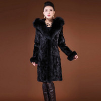 New Women's Fur Imitation Mink Coat Super Large Fur Collar Fox Fur grass Long coat Large size Women's jacket More Size S 6XL