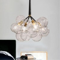 Modern 9/12/18 Glass Bubble Edison Bulb Pendant Lights Lamps Hanging Lights for Dining room Living room Kitchen Hotel Cafe Bar