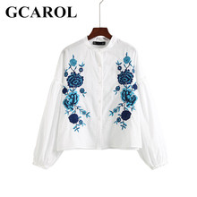 GCAROL Euro Style Blue Floral Embroidery Women Blouse Puff Sleeve Crop Tops High Quality Oversize Basic Shirt For 4 Season
