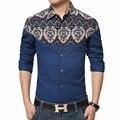 2016 de alta calidad ropa de los hombres Más tamaño 5XL marca de lujo camisa de los hombres camisa de manga larga delgada ocasional floral camisas de los hombres