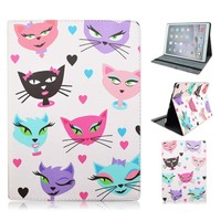 Cute Love Cats Printed Pattern Flip Stand Protective PU Leather Business Book Cover Case For Apple
