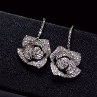 Sparkling Fashion Platinum Plated AAA Cubic Zirconia Luxury Rose Flower Big Dangle Earrings For Women Wedding