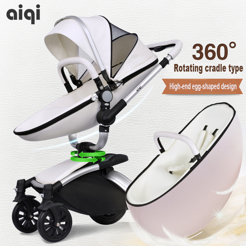 Baby stroller aiqi leather two-way four wheel baby car shock absorbers folding trolley brand baby strollers baby wheels baby stroller aiqi child car light folding shock absorbers baby stroller bb car 2 in 1 baby stroller baby sleeping basket newbor