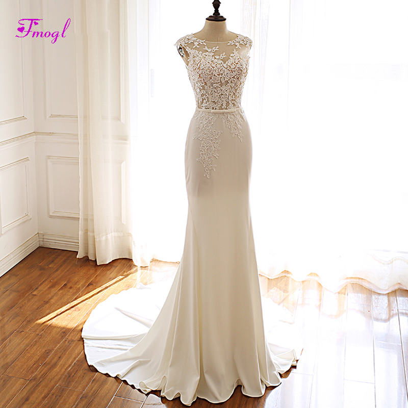 Trumpet Wedding Gowns With Sleeves: Fmogl Elegant Scoop Neck Button Mermaid Wedding Dresses