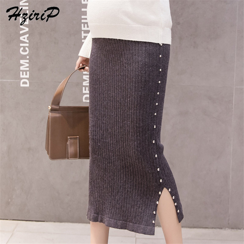 HziriP 2019 New Spring Pearls Stylish Simple Fashion Maternity Fork Skirts High Waist Pregnant Knitted Women Clothing 2 Colors